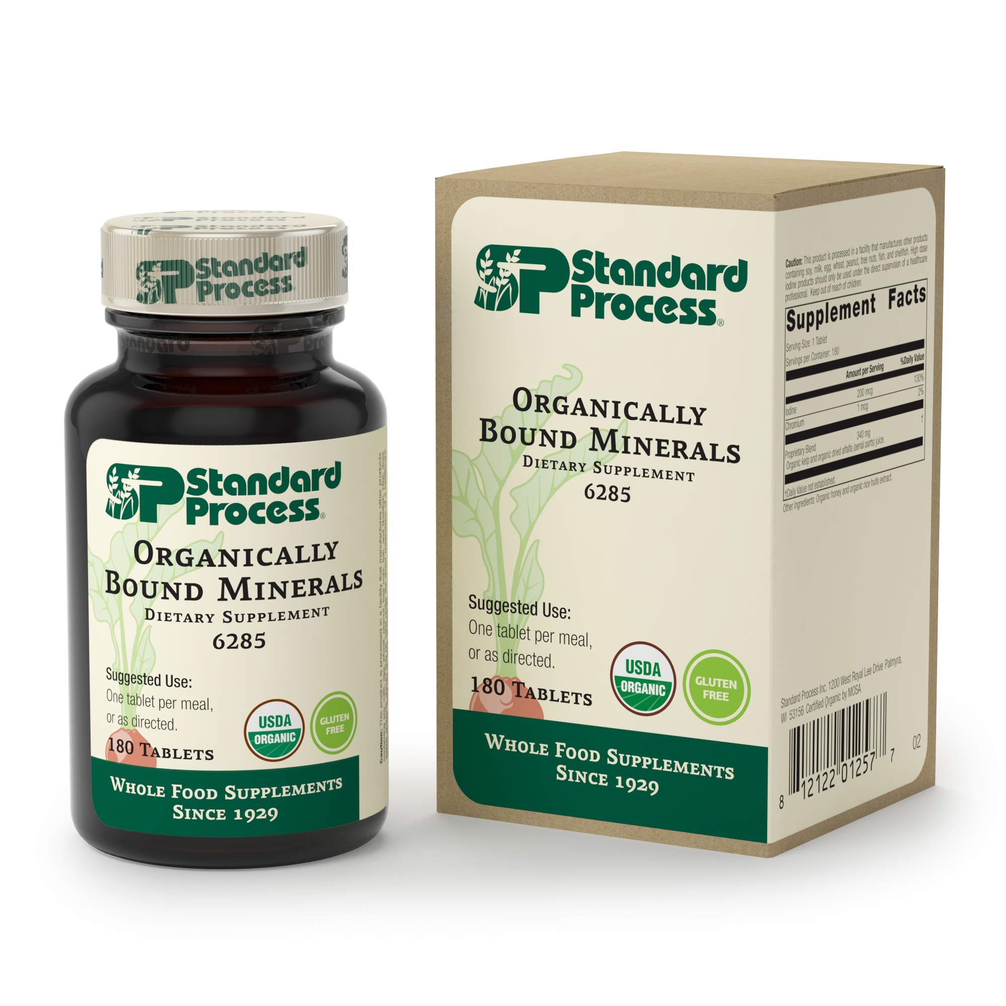 Standard Process - Organically Bound Minerals - Promotes Healthy Connective Tissues and Cellular Energy Production, Healthy Enzyme Function, Gluten Free and Vegetarian - 180 Tablets