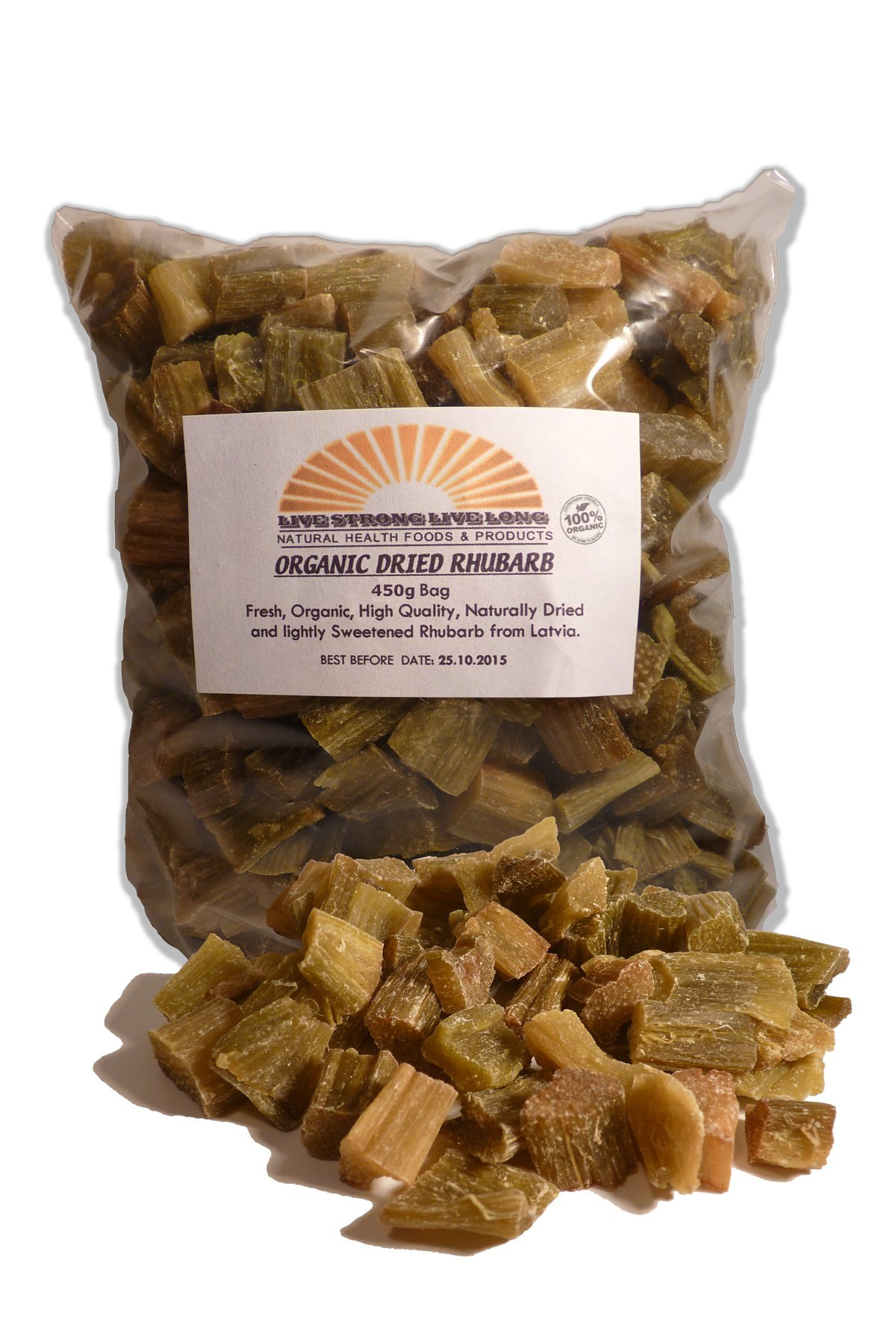 100% Organic Dried Rhubarb Pieces 450g Bag (15.9oz)