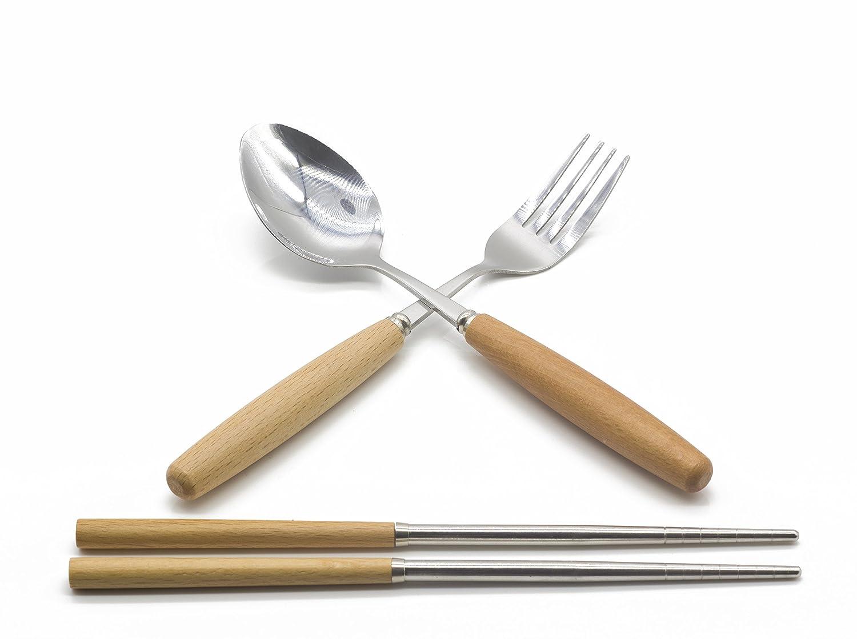 Genubi-3PCS Portable Flatware Spoon Fork Chopsticks Tableware Set 410 Stainless Steel Dinnerware Silver with Travel Box