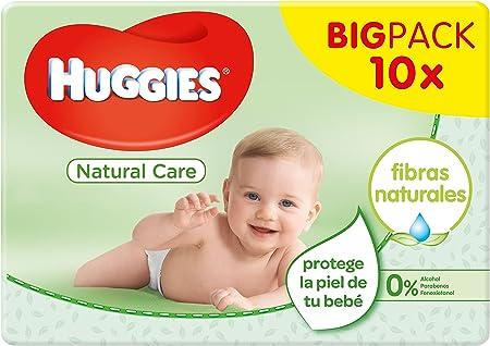 Contiene 10 paquetes de 56 toallitas cada pack,Hechas con un 65% fibras naturales,Enriquecidas con A