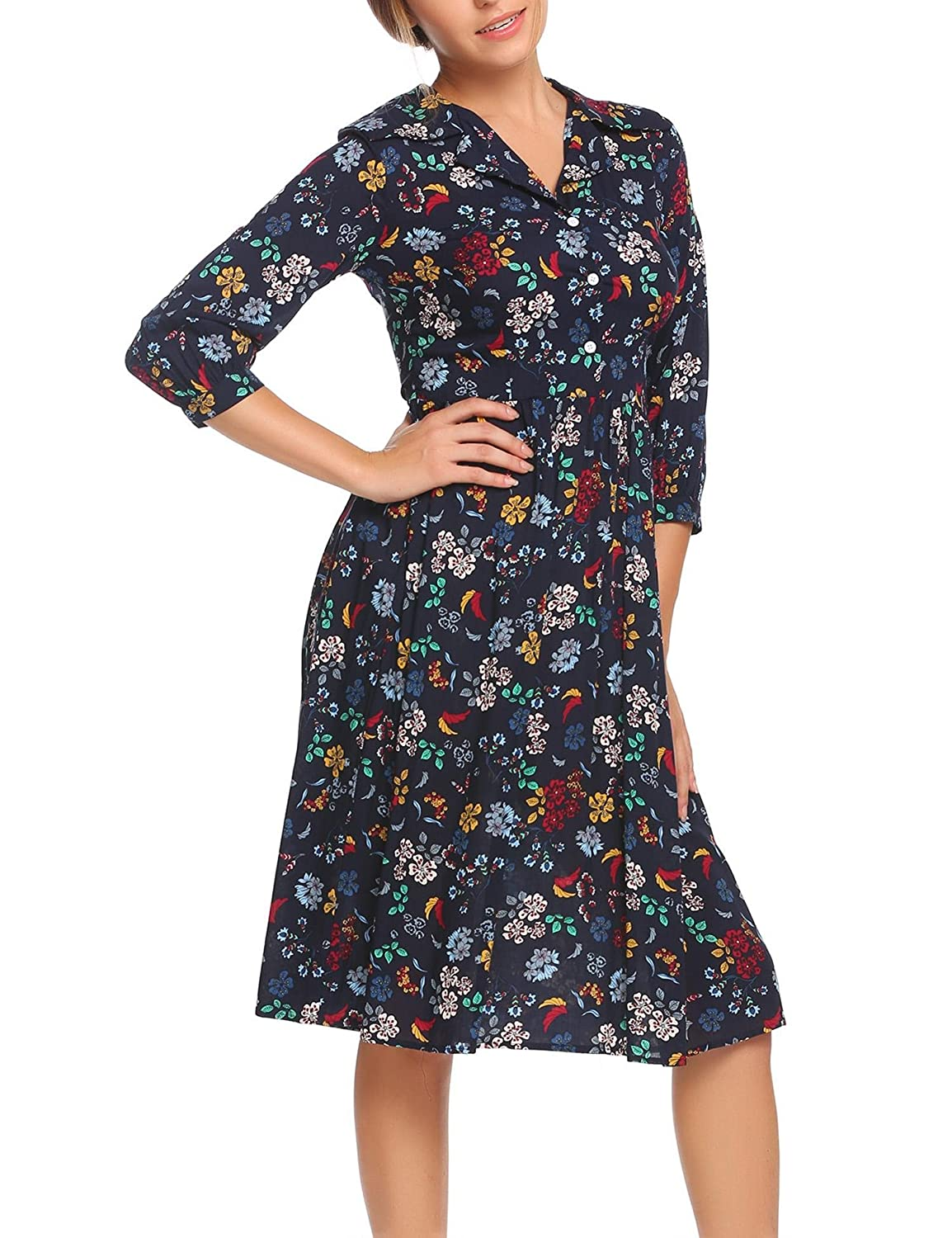 ACEVOG Women Vintage 3 4 Sleeve Button Down Floral Print Pleated Casual Dress