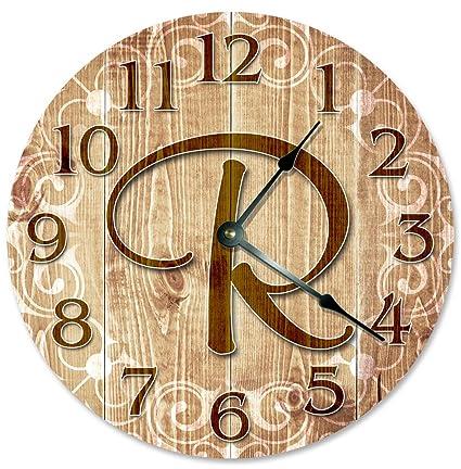 Amazon.com: Sugar Vine Art LETTER R MONOGRAM CLOCK Decorative Round ...