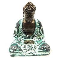 La Conchiglia - Buddha Meditazione in Resina Dipinta - 16Cm - Color Bronzo/Verde