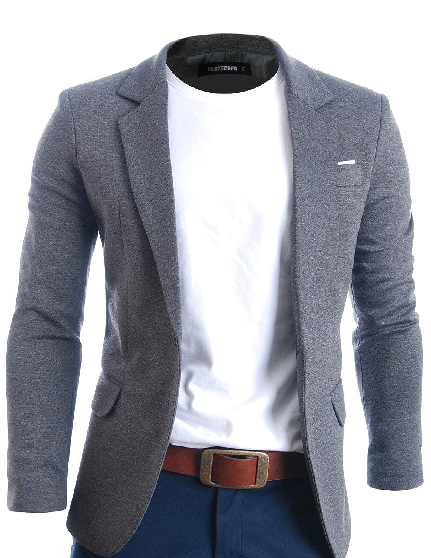 FLATSEVEN Giacche Blazer Slim Fit Casual Premium Uomo BJ102