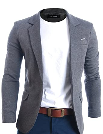 4446da7cf1a FLATSEVEN Mens Fit Casual Premium Blazer Jacket at Amazon Men s ...