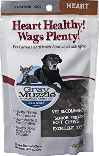 product image for Ark Naturals Gray Muzzle Heart Healthy Wags Plenty Dog Chews, Vet Recommended for Senior Dogs to Support Heart Muscle, Blood Pressure and Circulation, Natural Ingredients, 60 Count