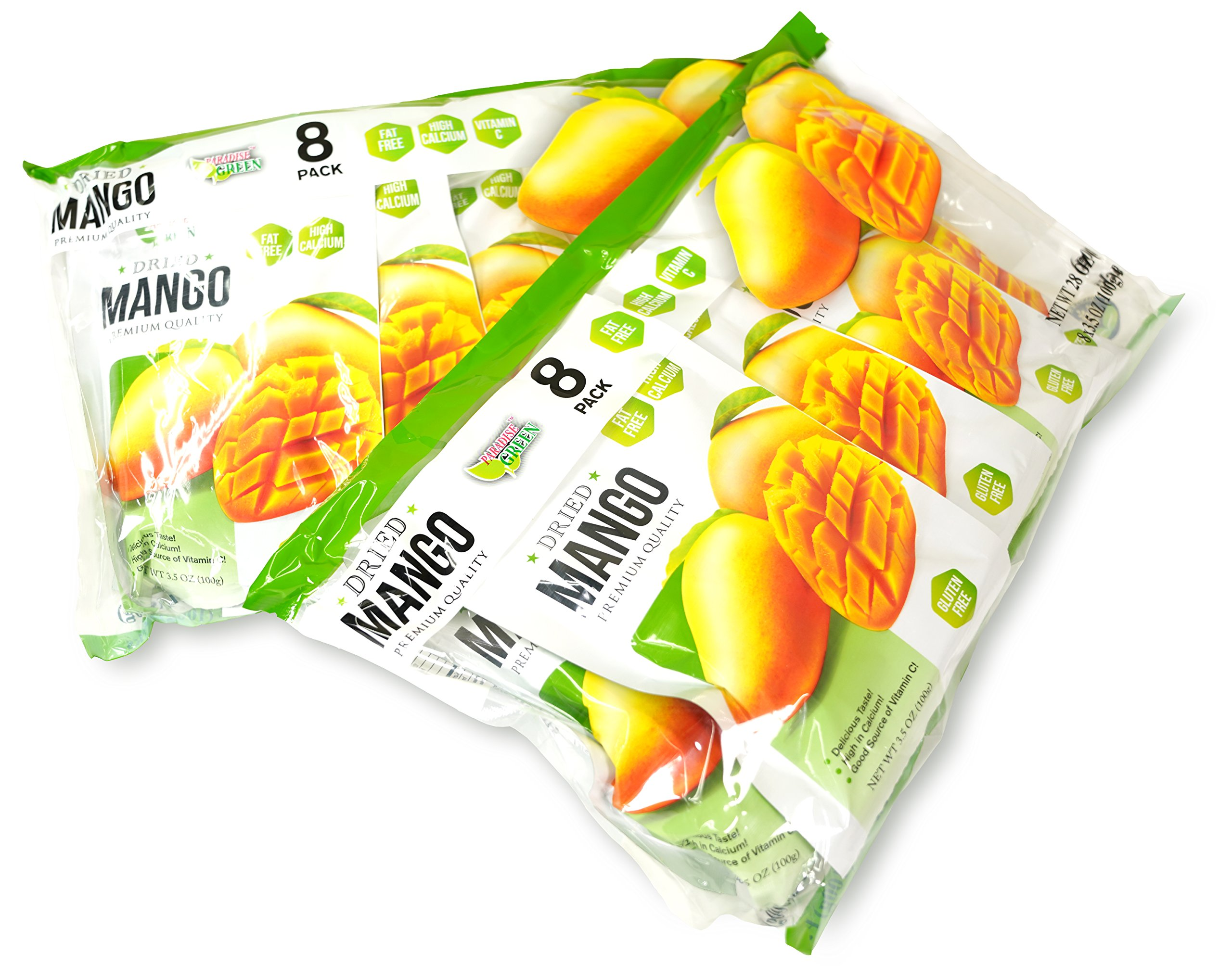 Paradise Green - Dried Mango 28oz - Sweet Dehydrated Thai Mangoes Sun Dried In Nature (8 bags X 3.5 oz) (2 Pack) by Paradise Green