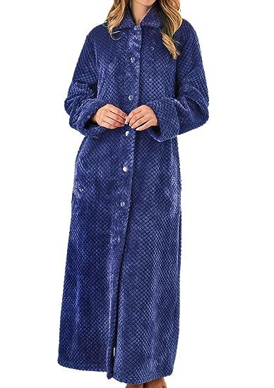 Slenderella Womens Waffle Fleece Button Up Dressing Gown Ladies ...