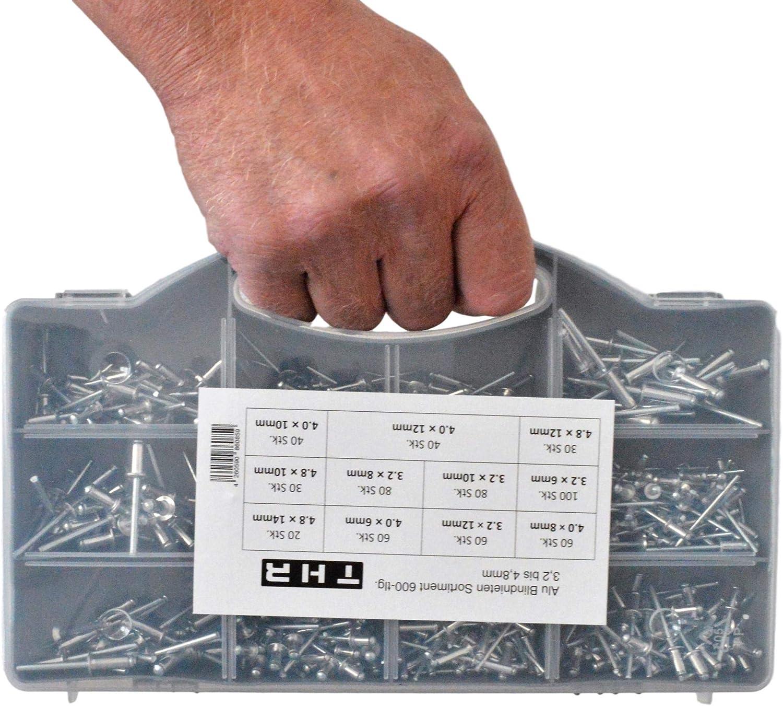 Surtido de remaches ciegos (3,2, 4,0 y 4,8 mm, aluminio, 600 unidades)