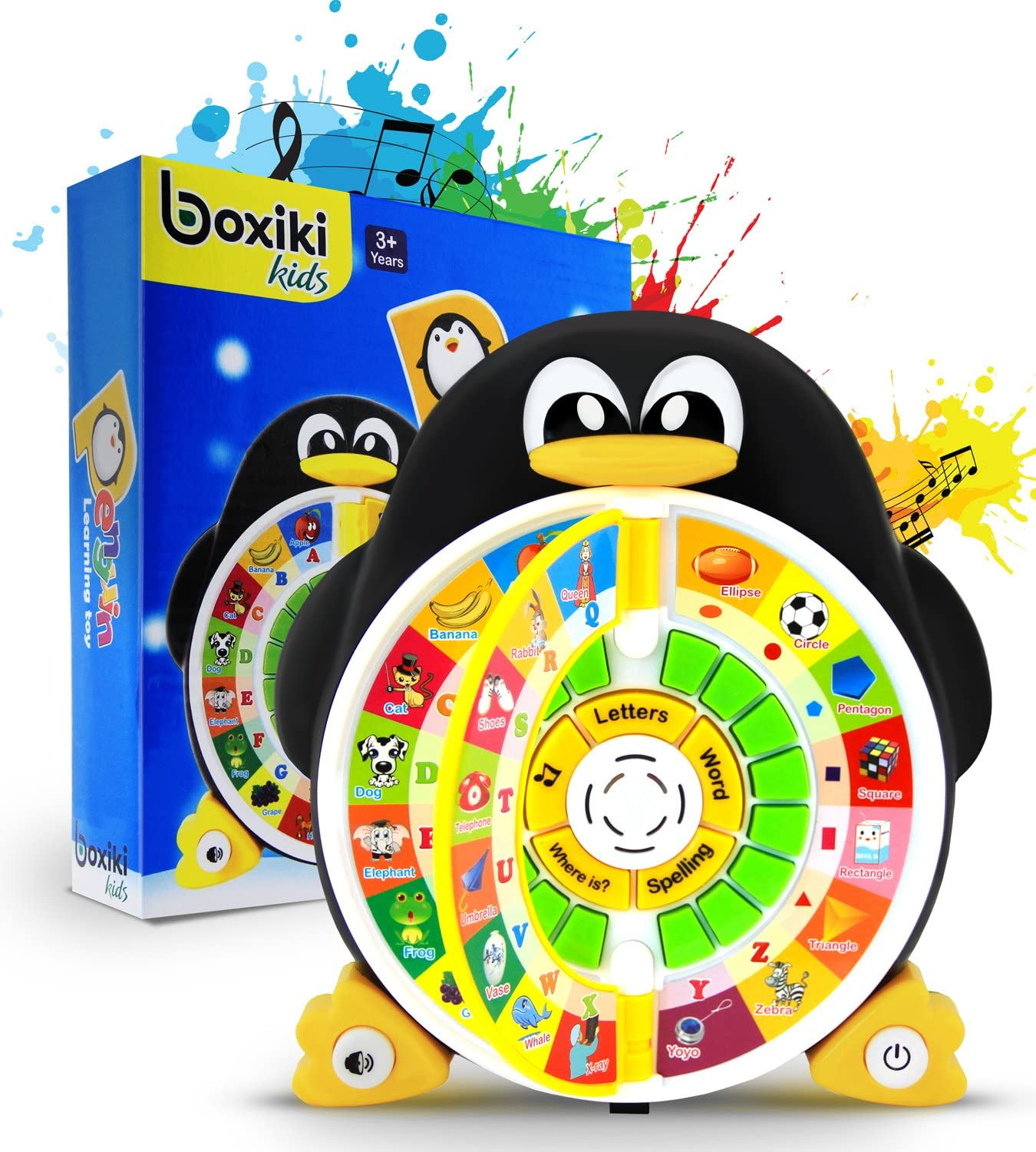 """Boxiki kids Penguin Power ABC Learning Educational Toy Learning Game Center Boosts Core Pre-Kindergarten Subject Comprehension – ABCs, Words, Spelling, Shapes, """"Where is?"""" & Songs"""