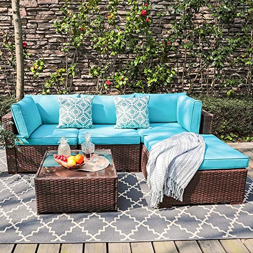 OC Orange-Casual 5 Piece Outdoor Furniture Sectional Sofa, Patio Brown PE Rattan Wicker Sofa with Turquoise Cushions Modern Glass Coffee Table Ottoman, Garden, Backyard, Pool