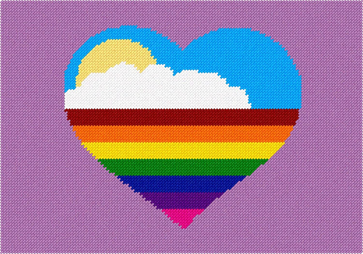 Pepita Heart Rainbow Needlepoint Kit Pepita Needlepoint
