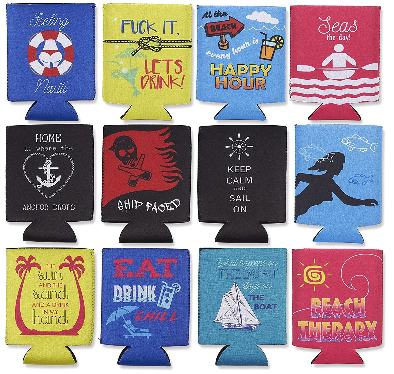 Nautical Beer Sleeve – 12-Pack Can Covers Drink Holder with Insulated Covers, 12-Ounce Neoprene Coolers for Soda, Beer, Can Beverage, Multicolor, 2.4 x 2.4 x 4 Inches