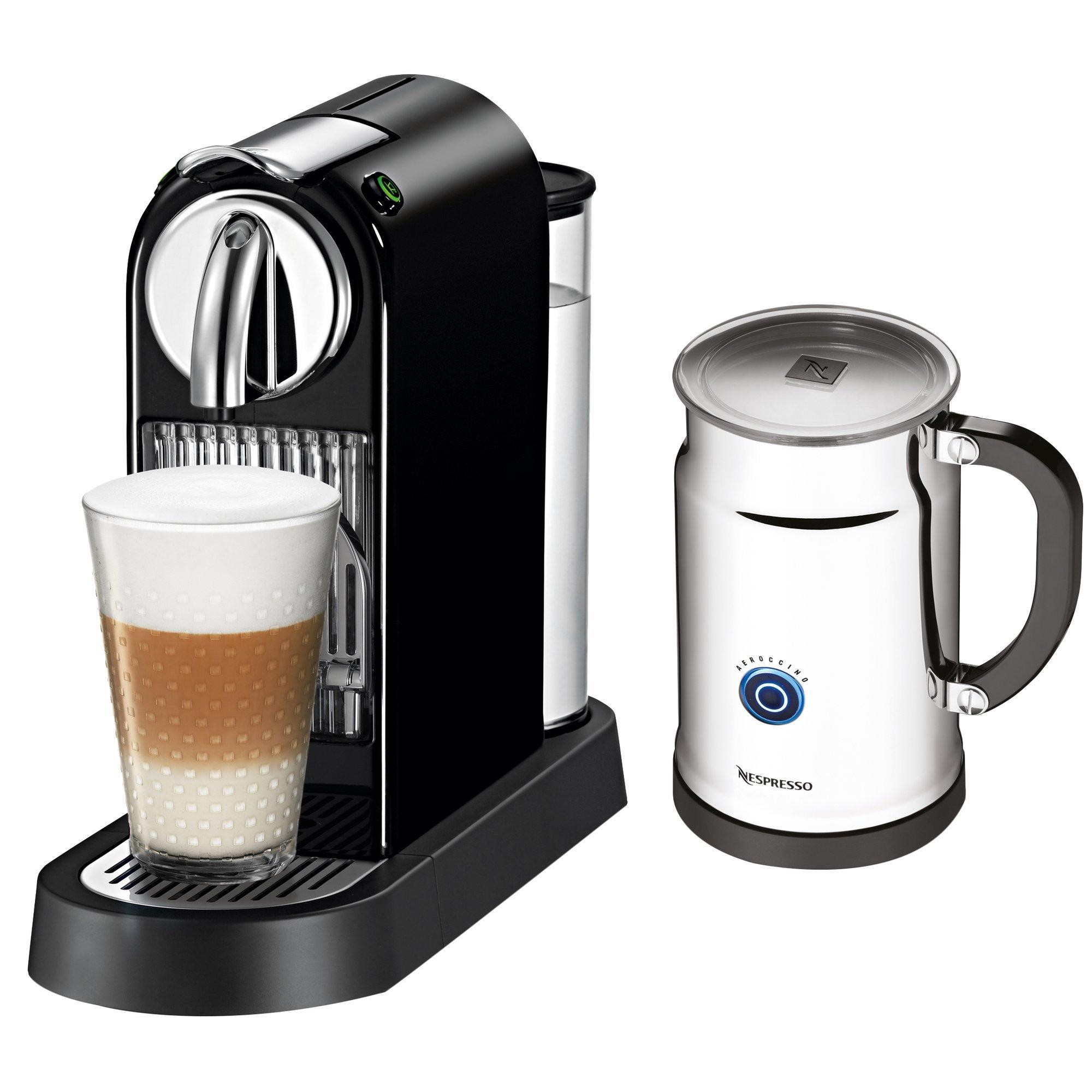 CitiZ Espresso Maker with Aeroccino Milk Frother, Pod Espresso Machine (Limousine Black)