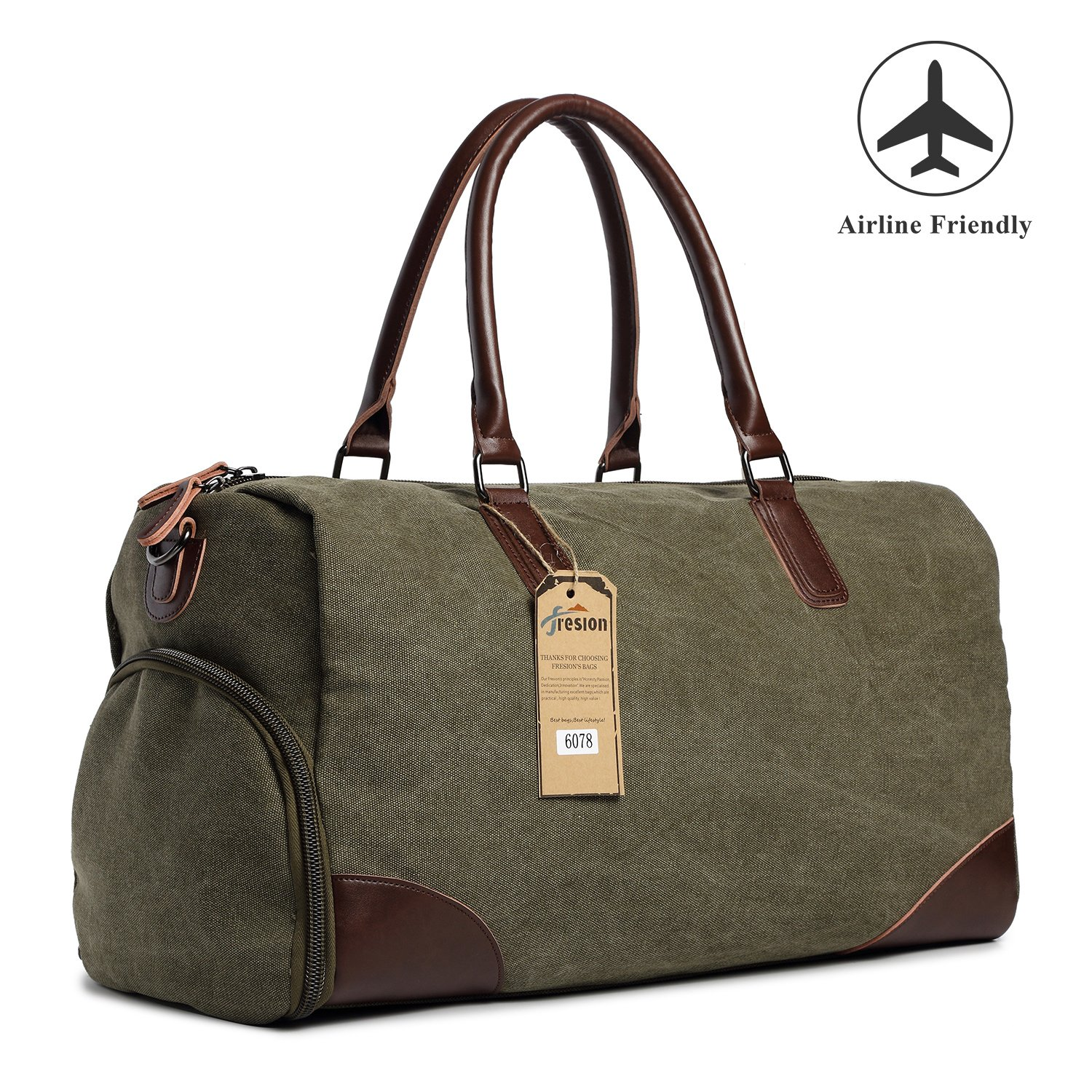 Fresion Canvas Duffel Leather Carry On Bag Weekend Overnight Tote Bag Men  Shoe Pouch product image a8723f63a1149