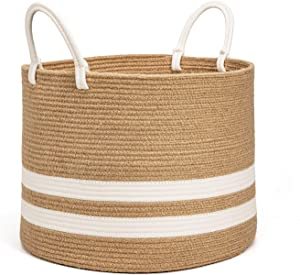 """CHICVITA Extra Large Jute Basket Woven Storage Basket with Handles – Natural Laundry Basket Toy Towels Blanket Basket Home Decor Gift, 17.7"""" x 13.6"""", White"""