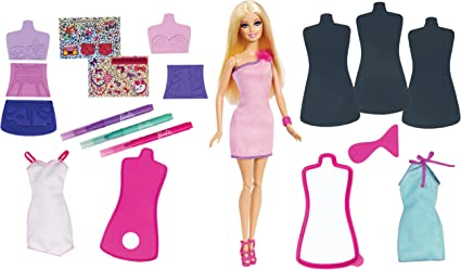 Amazon Com Barbie Fashion Design Plates And Doll Toys Games