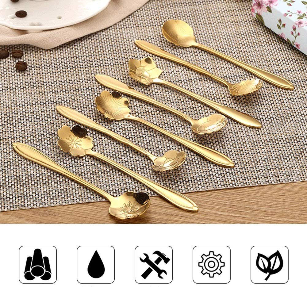 WDNMD Stainless Steel Desert Spoon Long Handle Coffee Spoons Set Flower Shape Dinner Spoon Smooth Curve Tea Spoon ZR-55 (Gold) by WDNMD (Image #3)
