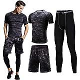Sillictor スポーツウェア 3点/4点 セット 半袖 長袖 コンプレッションウェア + ロング コンプレッションタイツ + ショート パンツ メンズ [UVカット + 吸汗速乾]
