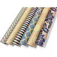 Note Card Cafe Kraft All Occasion Wrapping Paper | 6 Pack | 30 x 120 inch Rolls | Blue, Cream | for Birthdays, Weddings…