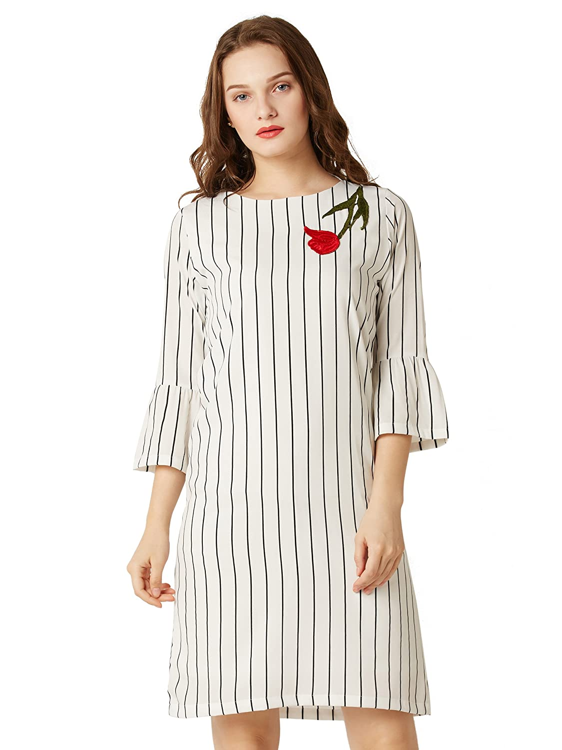 40b75611e73 Miss Chase Women s Black and White Striped Shift Dress  Amazon.in  Clothing    Accessories