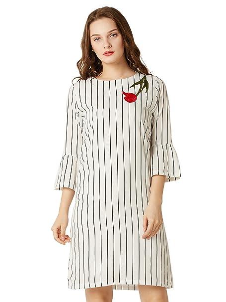 Miss Chase Women's Black and White Striped Shift Dress Dresses