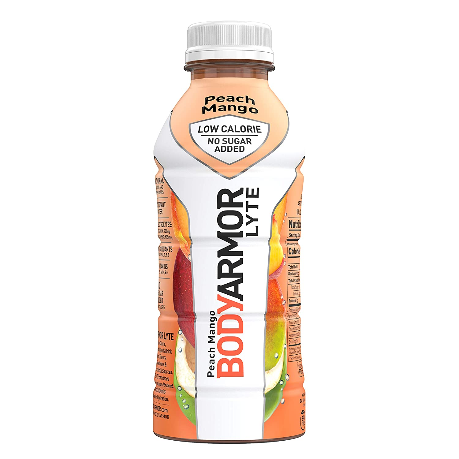 BODYARMOR LYTE Sports Drink Low-Calorie Sports Beverage, Peach Mango, Natural Flavors With Vitamins, Potassium-Packed Electrolytes, No Preservatives, Perfect For Athletes, 16 Fl Oz