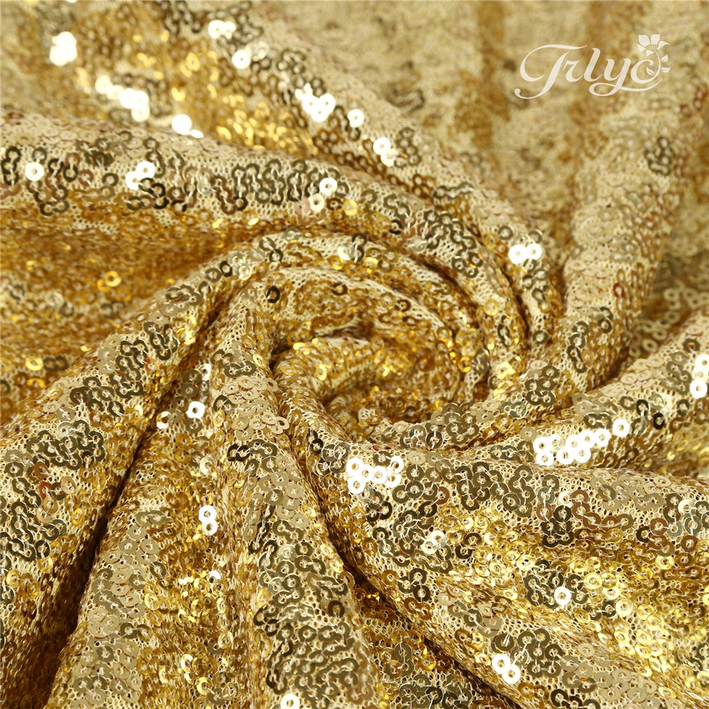 TRLYC 36''84'' Gold Sequin Wedding Backdrop 3Ft7Ft Sparkly Party Decoration And Curtain