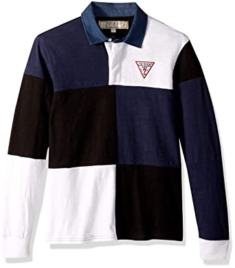 d71ef7d3 GUESS Men's Long Sleeve Color Block Rugby Shirt at Amazon Men's Clothing  store: