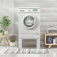 ECD Germany Wasmachine onderstel, 63x54,5x32,5 cm, wit, gemaakt van staal, tot 150kg, stabiel wasmachine onderstel…