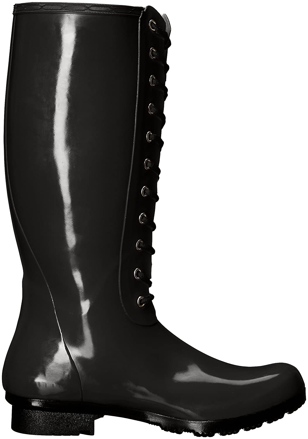 Roma Boots Women's OPINCA Lace-up Rain Boots B01L2WO48I 8 B(M) US|Black