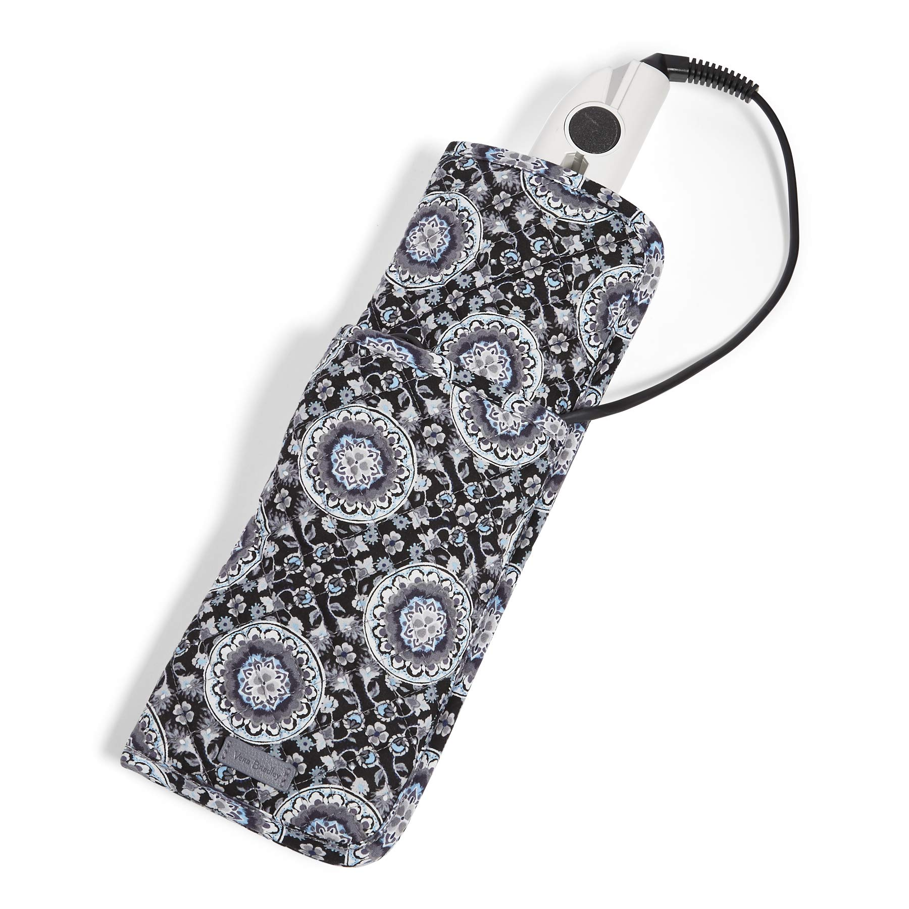 Vera Bradley Iconic Curling and Flat Iron Cover, Signature Cotton, Charcoal Medallion