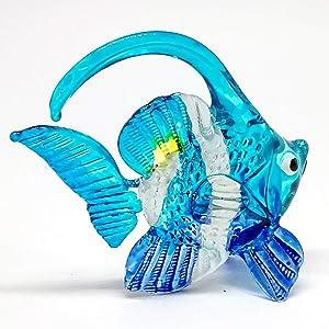 ZOOCRAFT Blown Glass Fish Figurine Animal Tropical Handicraft Miniatures Aquarium Decor