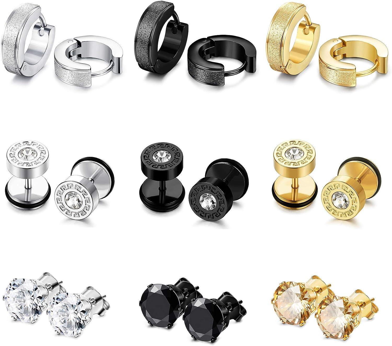 Udalyn 9 Pairs Stainless Steel Mens Womens Stud Earrings Set Ear Piercing Plugs Tunnel Screw Design Huggie Hoop Earrings CZ Inlaid Cartilage Stud Earrings