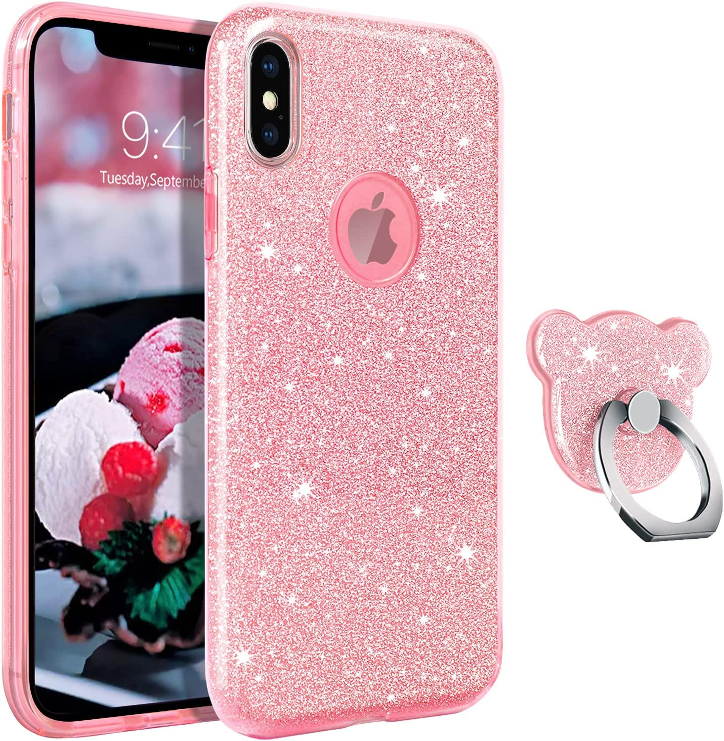 GUAGUA Compatible for iPhone Xs/X Case 5.8 Inch Glitter Sparkle Bling Shiny Cute Cover for Women Girls with Extra Finger Ring Holder Kickstand Slim Protective Cases for iPhone Xs/X Pink Rose Gold