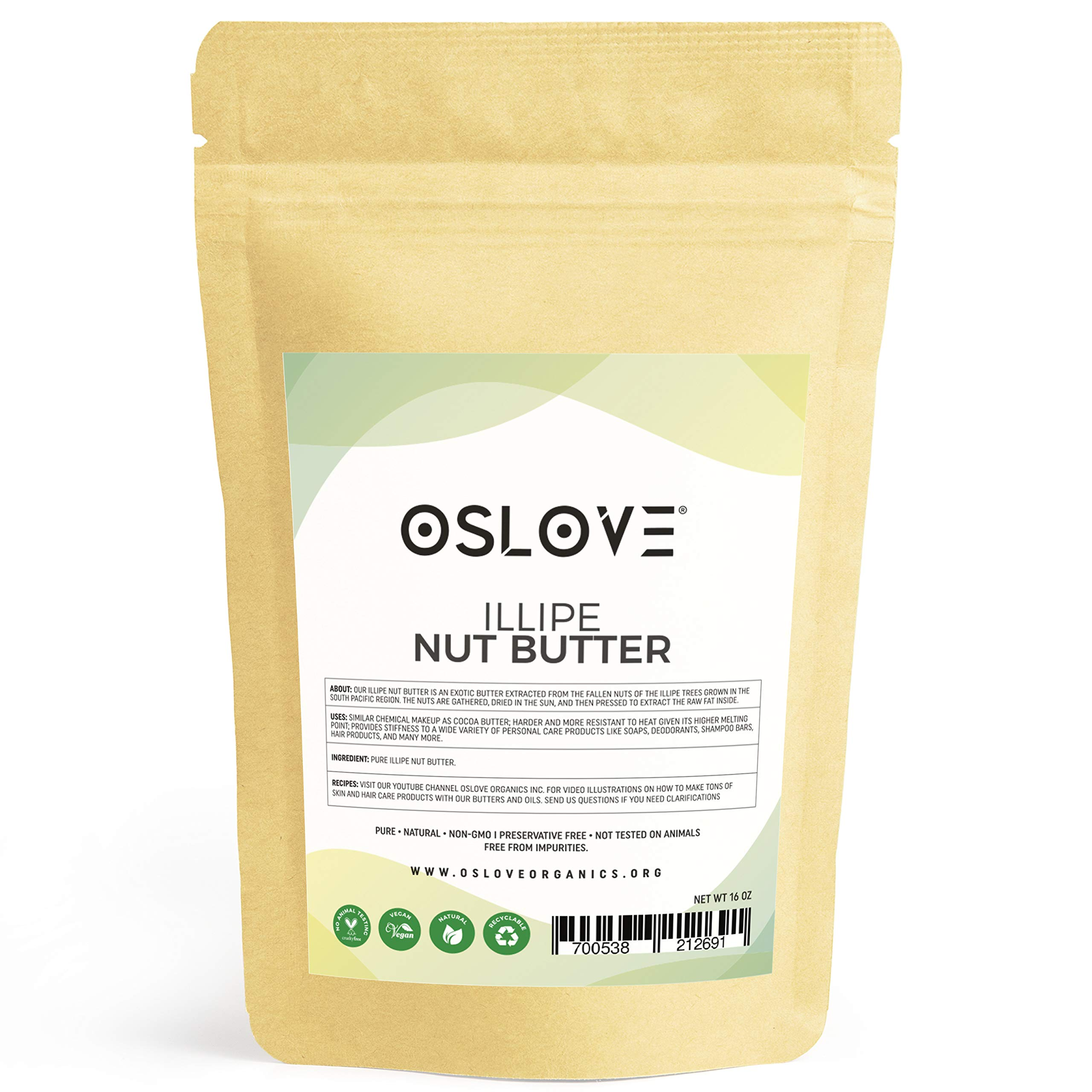 Illipe Nut Butter 1LB - 100% Pure & Natural by Oslove Organics- Great for DIY body butters, deodorant sticks, soaps and more