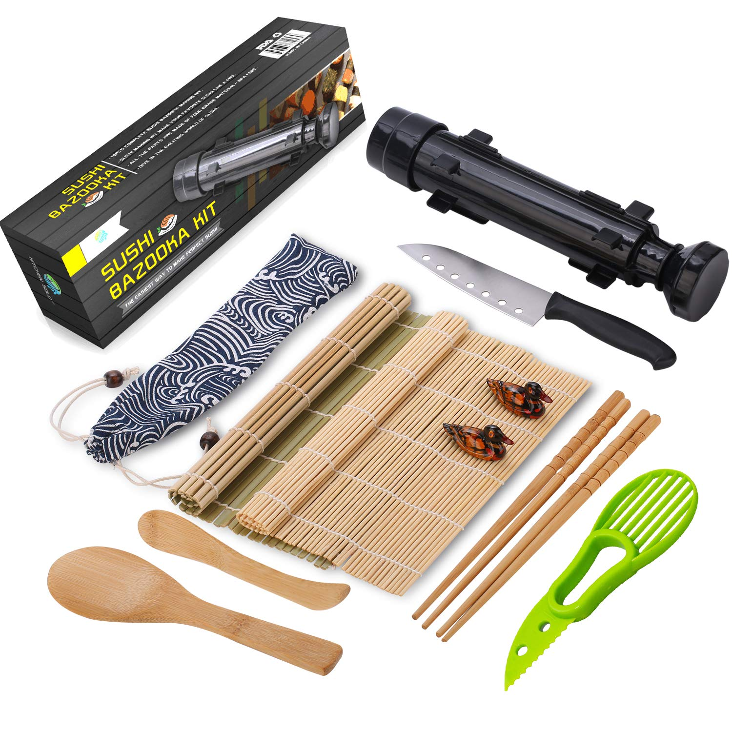 Sushi Making Kit - All In One Sushi Bazooka Maker with Bamboo Mats, Bamboo Chopsticks, Avocado Slicer, Paddle,Spreader,Sushi Knife, Chopsticks Holder, Cotton Bag - DIY Sushi Roller Machine - Black