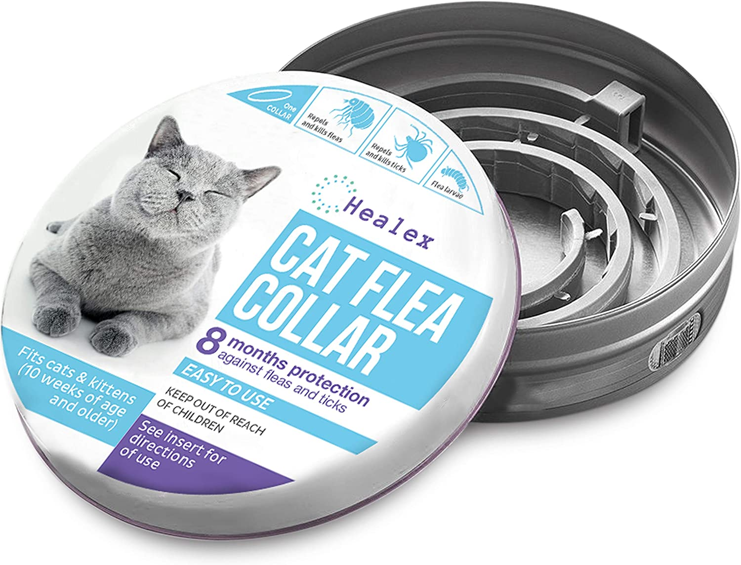 Healex Cat Flea Collar for Flea and Tick Treatment and Prevention | Premium Version, Collars Work for Cats and Kittens, Prevents Reinfection | Helpful...