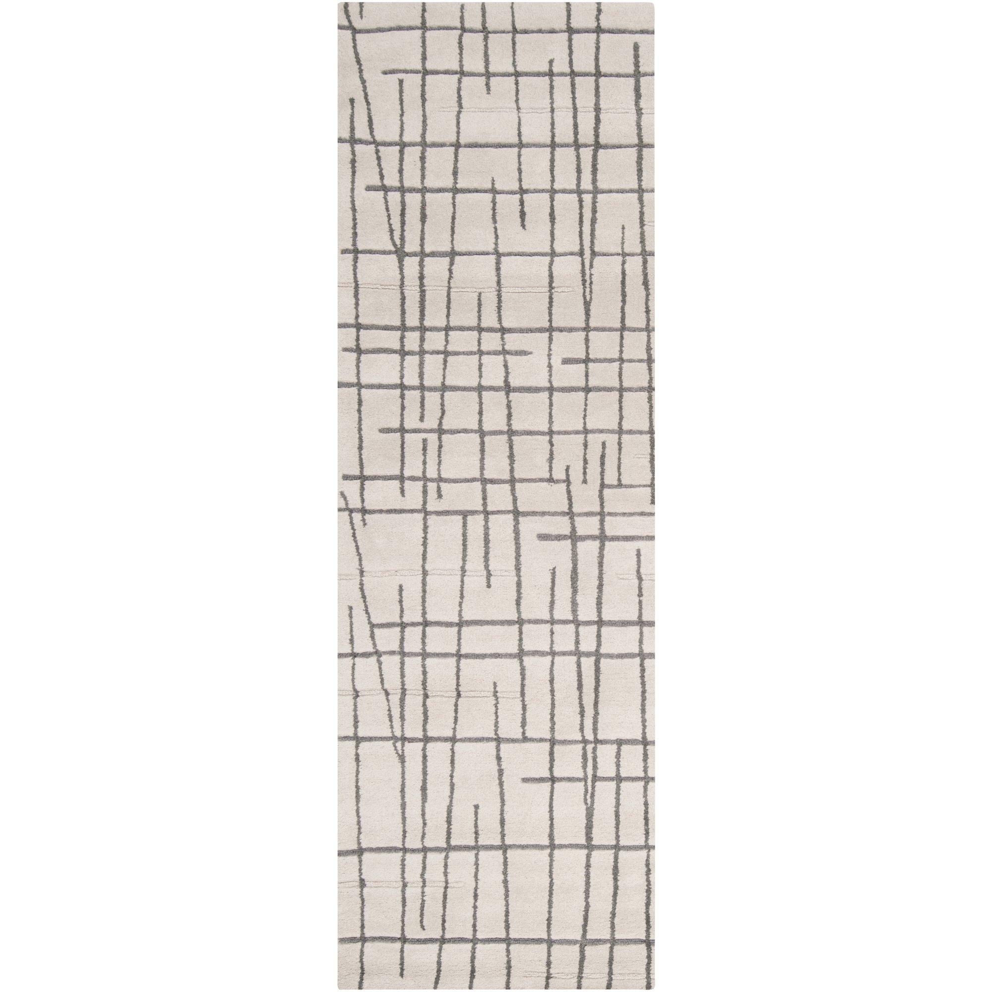 Surya Naya NY-5213 Contemporary Hand Tufted 100% New Zealand Wool Ivory 2'6'' x 8' Geometric Runner