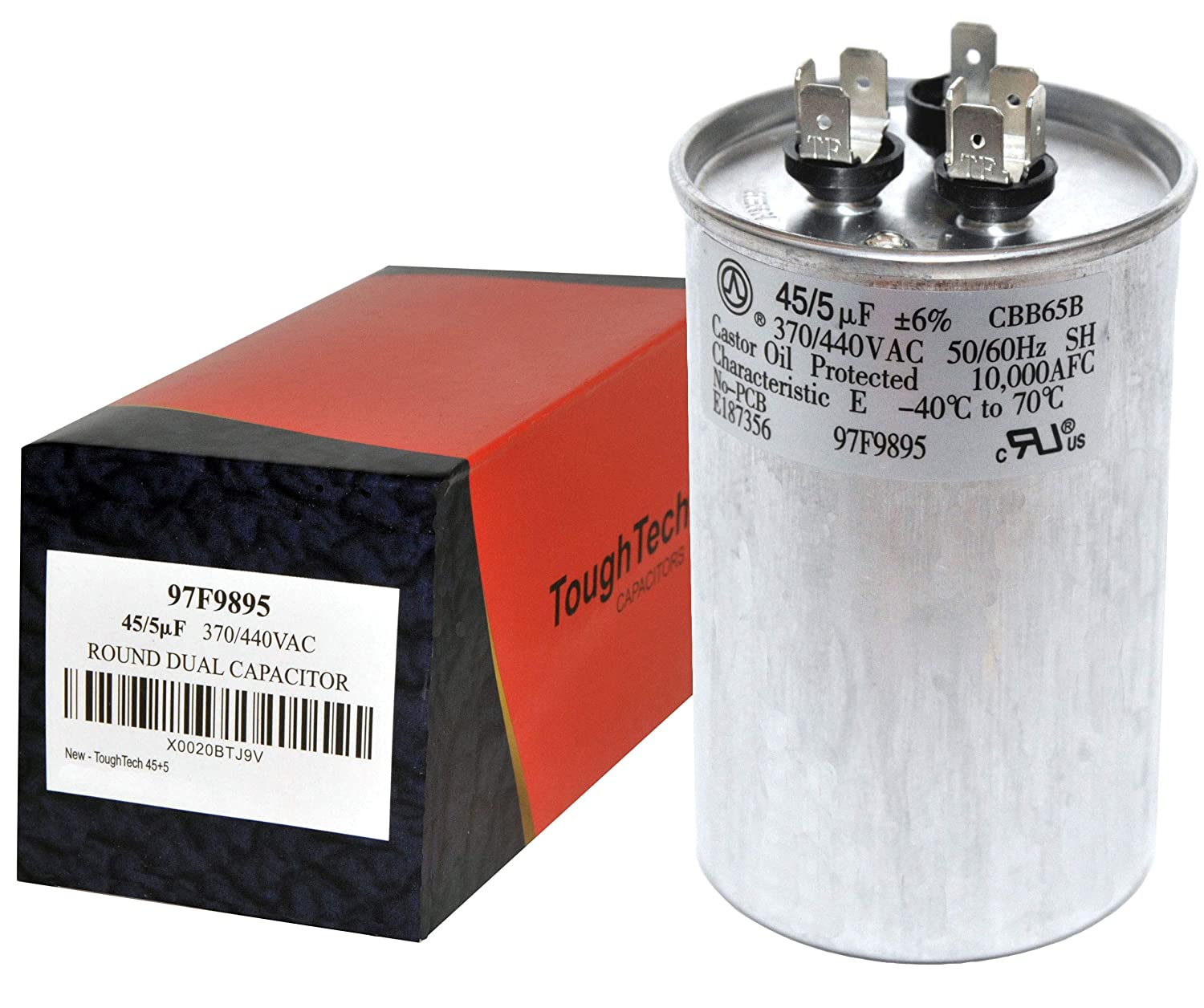 ToughTech 45+5 uf MFD 97F9895 Dual Run Round Capacitor 370 or 440 VAC for Air Conditioner