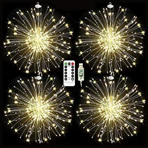 Christmas Tree Decorations Firework Lights, USB Powered Starburst String Lights 480 LED Copper Wire Fairy Lights with 8 Modes and Remote Control Hanging Lights for Holiday Decor (Battery Not Included)