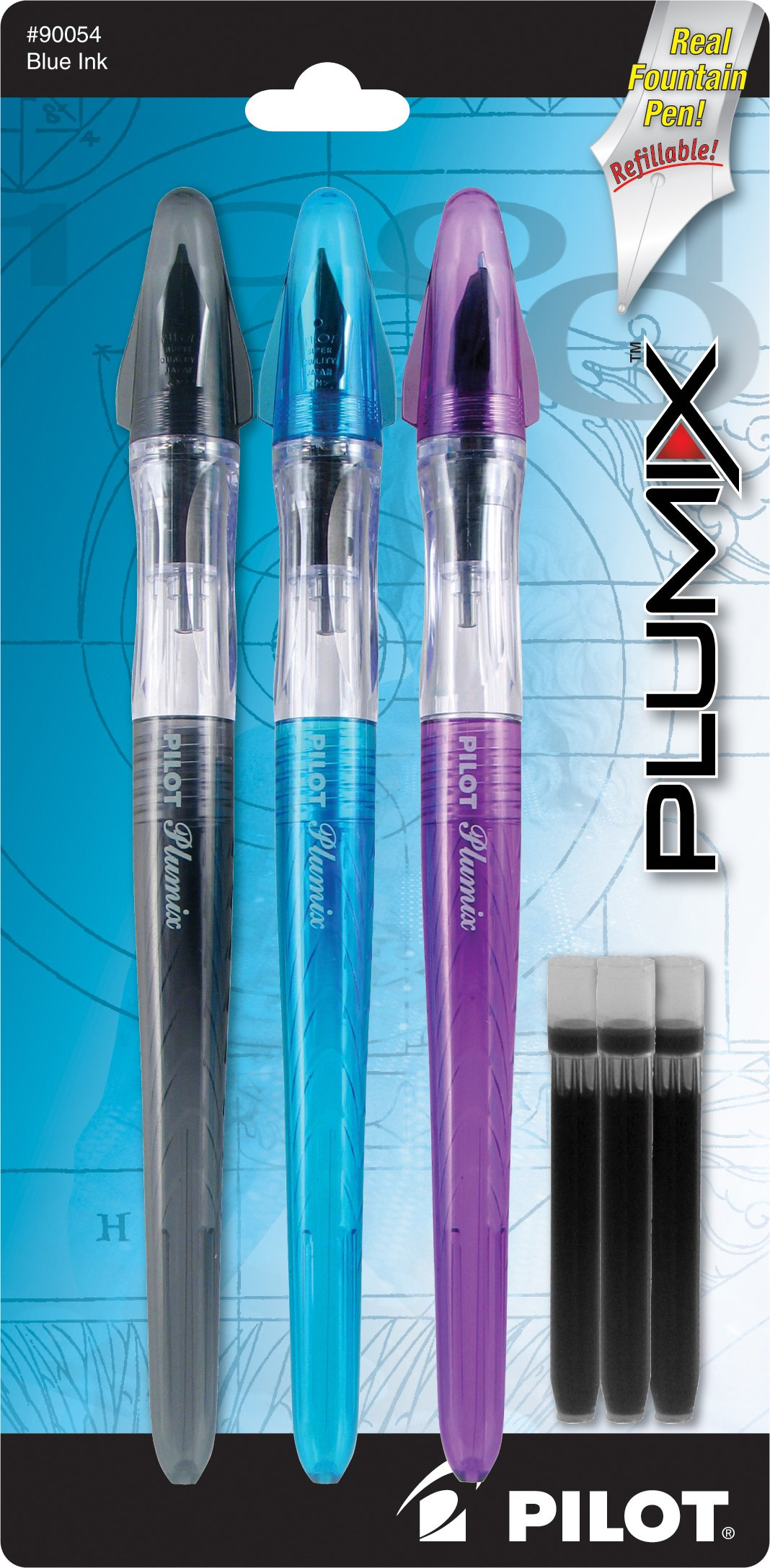 Pilot Plumix Refillable Fountain Pens, Assorted Color...
