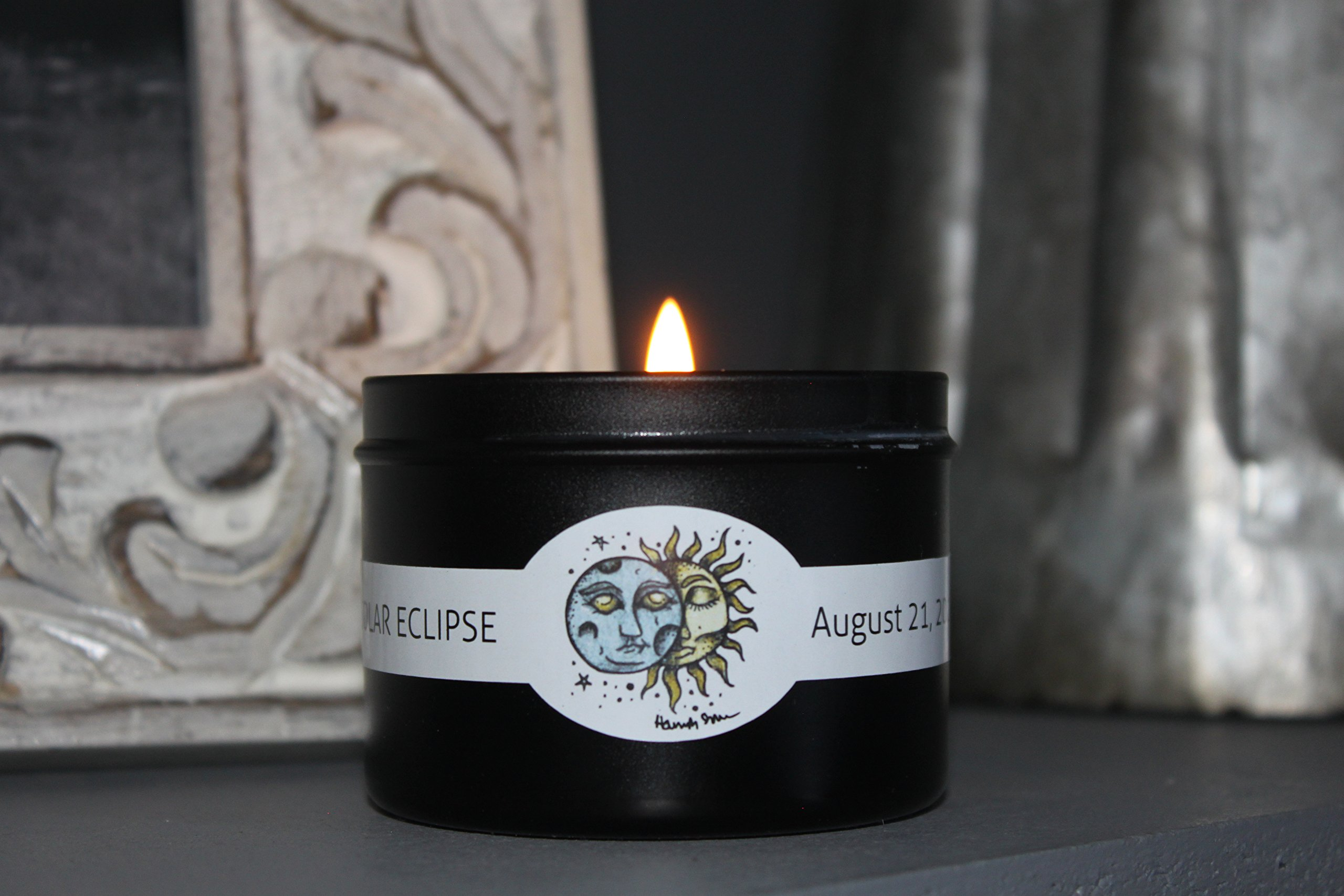 Collectors Edition// Solar Eclipse 6 oz. Black Travel Tin Soy Candle- Pacific Rain Scent- Artisan Made in Bend, OR, USA by Broken Top Candle Company