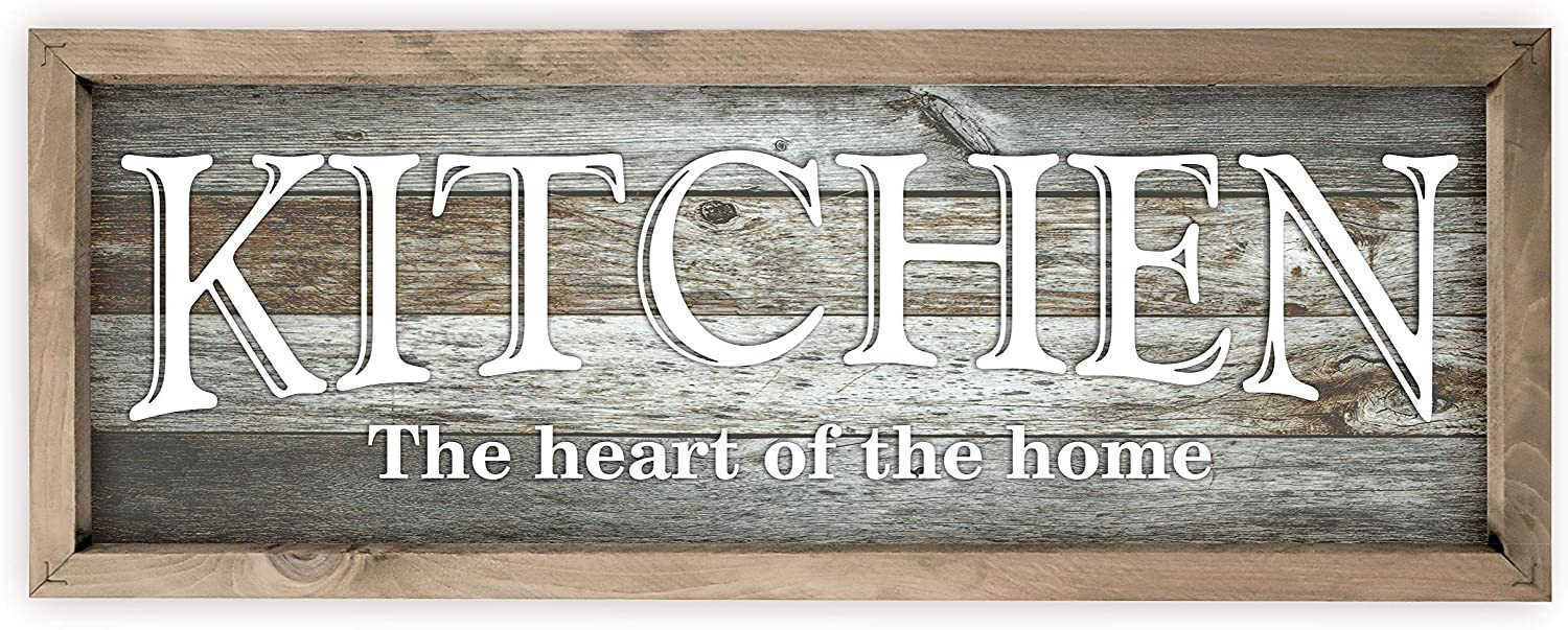 Kitchen The Heart Of The Home Rustic Wood Wall Sign 6x18 (Gray with Frame)