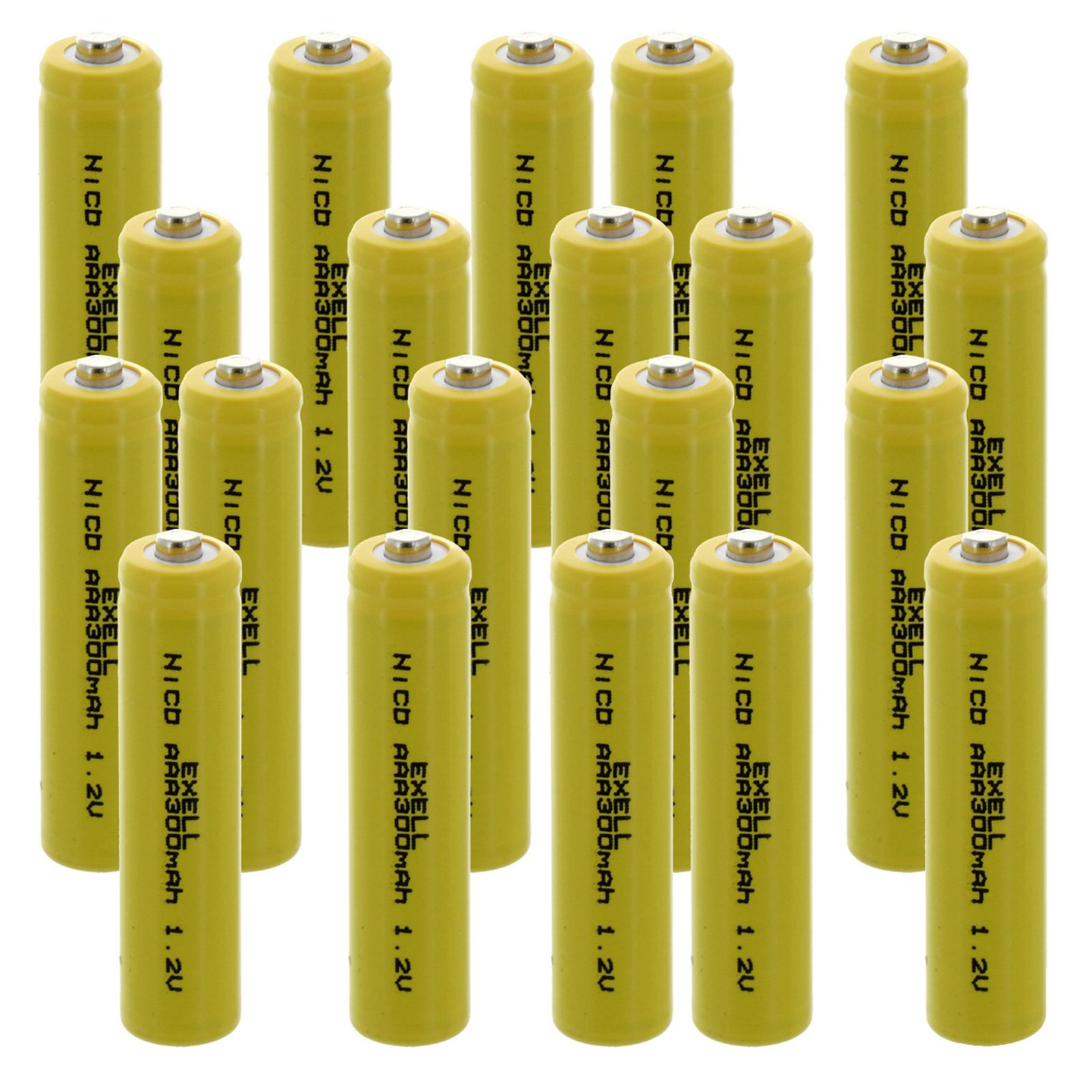 20x Exell AAA 1.2V 300mAh NiCD Button Top Rechargeable Batteries for high power static applications (Telecoms, UPS and Smart grid), electric mopeds, meters, radios, RC devices, electric tools