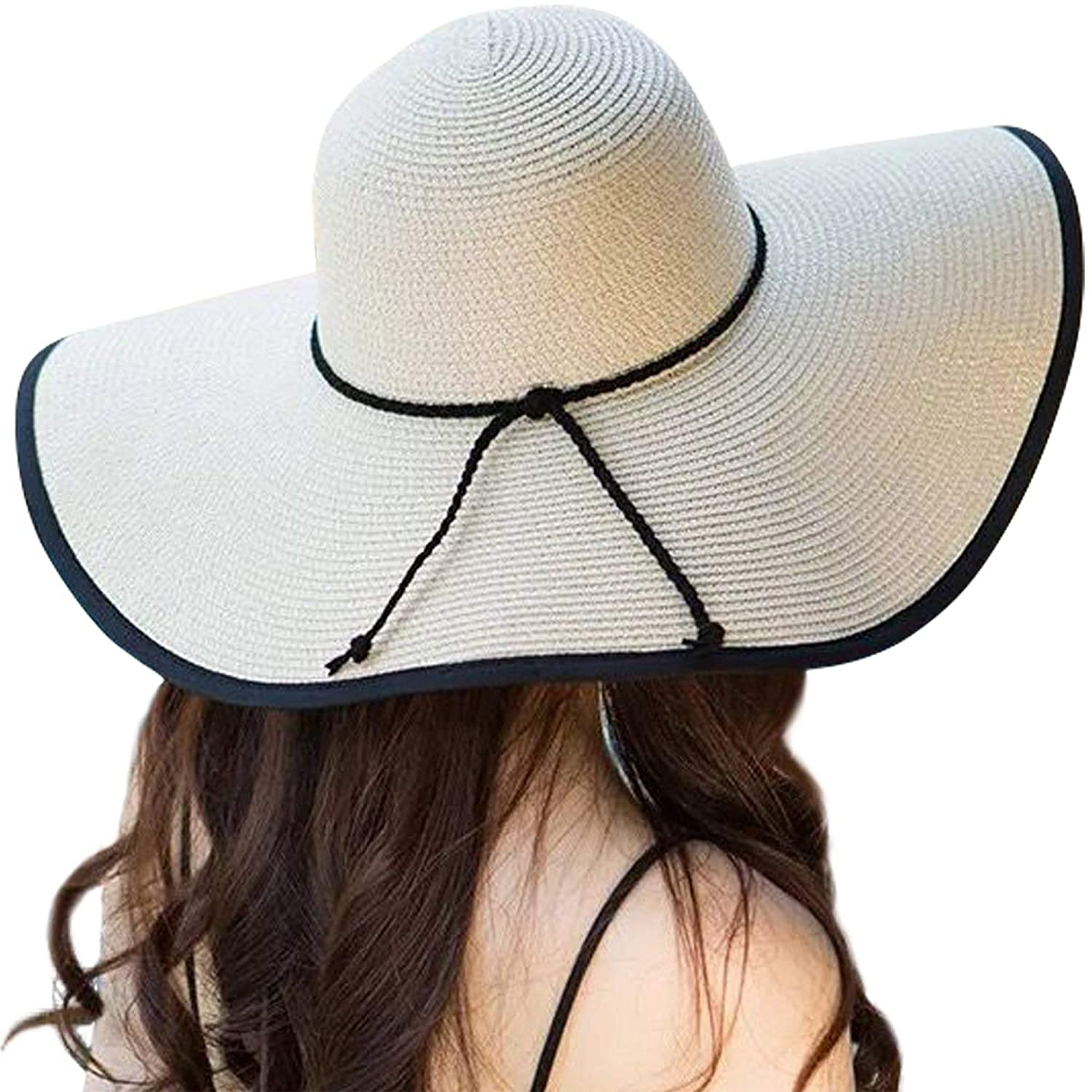 d3ea126cb4c84 Womens Big Bowknot Straw Hat Floppy Foldable Roll up Beach Cap Sun Hat UPF  50+ (A Beige 5.9