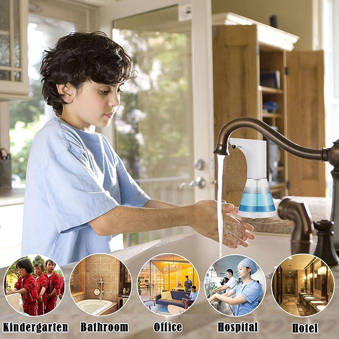 W-Unique Dispensador de Jabón automático, 520 ML, dispensador de Jabón Líquido con Sensor de Movimiento para Cocina y Baño (5 Niveles de Ajuste de Volumen): ...