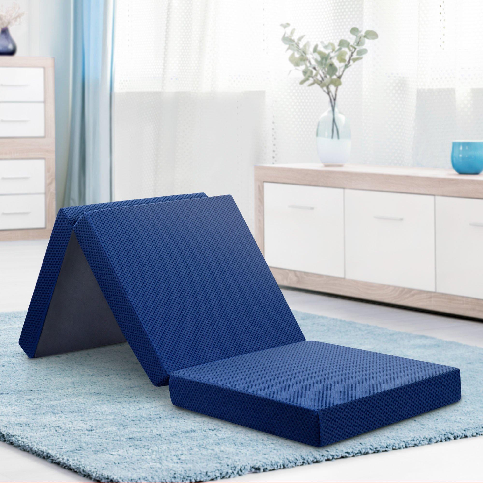 Olee Sleep OLR04TM02S Tri-Folding Memory Foam Topper, 4'' H, Blue