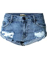 Metee Dresses Women's Blue Low Waist Ripped Hole Washed Denim Shorts Jeans
