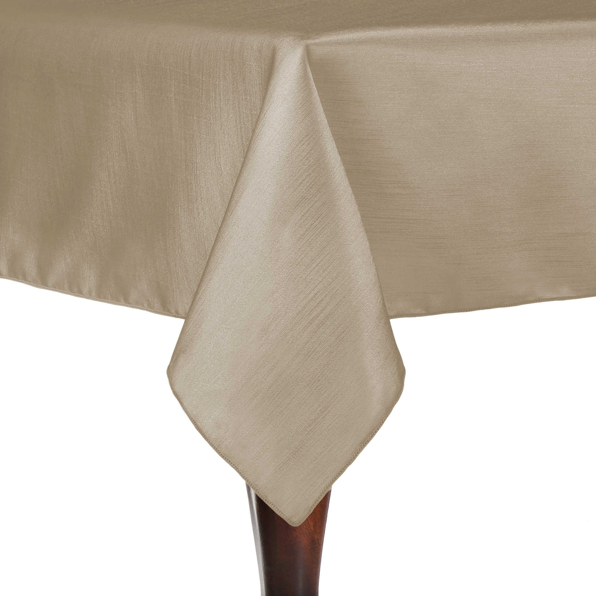 Ultimate Textile (5 Pack) Reversible Shantung Satin - Majestic 60 x 120-Inch Rectangular Tablecloth - for Weddings, Home Parties and Special Event use, Tan Beige